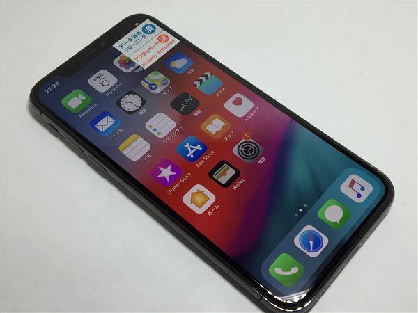 【中古】【安心保証】 SoftBank iPhoneX[64G] スペースグレイ SIMロック解除済