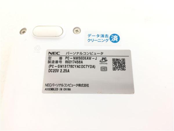 【中古】【安心保証】 NEC ノートPC PC-NM560KAW-J