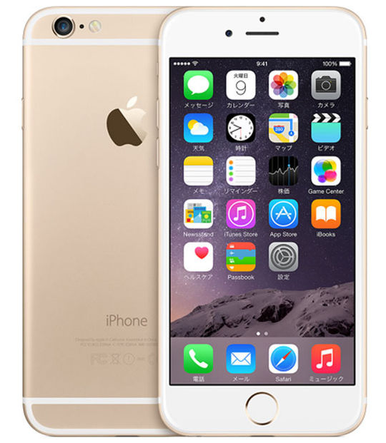 【中古】【安心保証】 au iPhone6[64GB] ゴールド