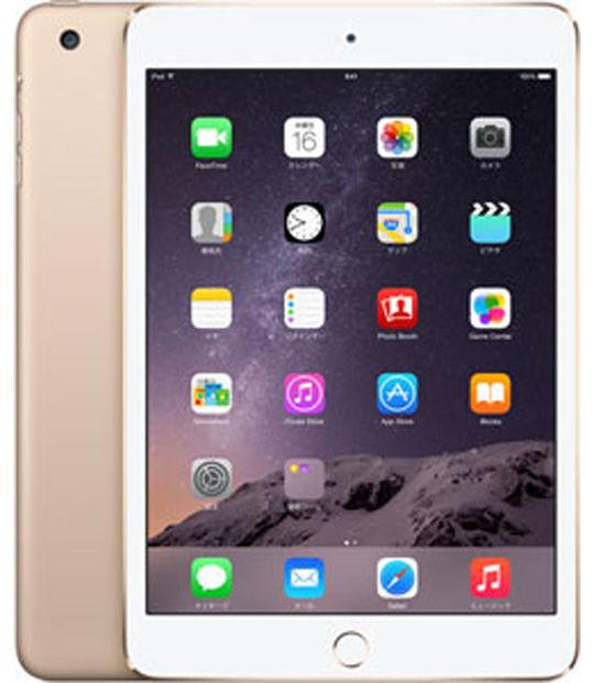 【中古】【安心保証】 au iPadmini3[WiFi+4G 128] ゴールド