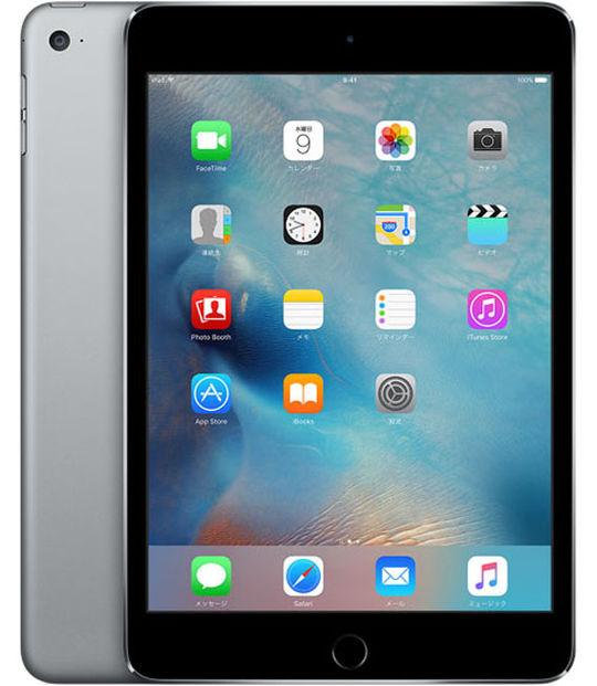 【中古】【安心保証】 au iPadmini4[セルラー128G] グレイ