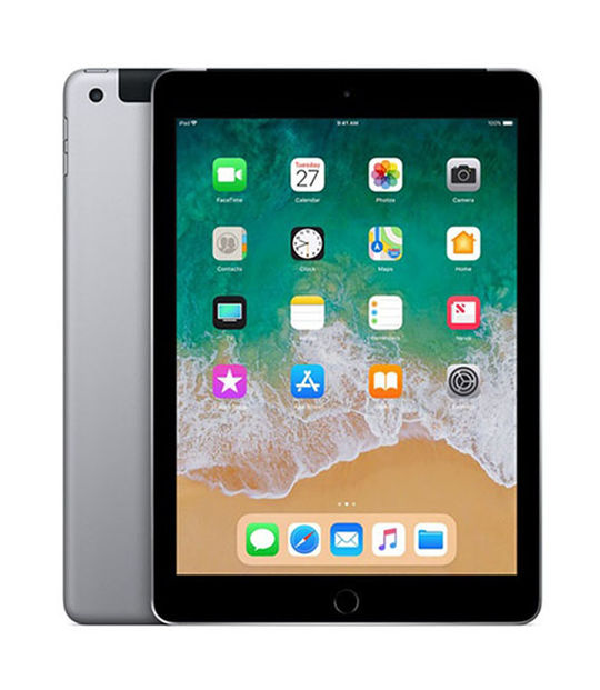 【中古】【安心保証】 SoftBank 9.7iPad 6[セルラー128G] グレイ
