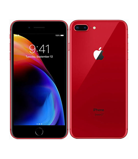 【中古】【安心保証】 au iPhone8Plus[64G] レッド