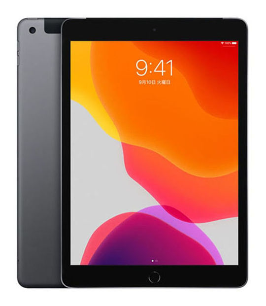 【中古】【安心保証】 SoftBank 10.2iPad 7[セルラー128G] グレイ