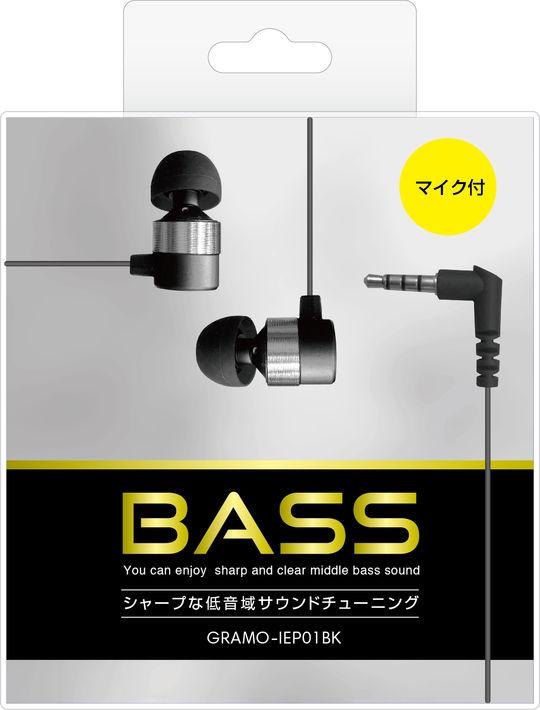 【新品】マイク付きイヤホン GRAMO−IEP01 BK ブラック/ゲオ