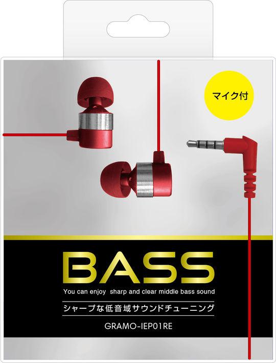 【新品】マイク付きイヤホン GRAMO−IEP01 RE レッド/ゲオ
