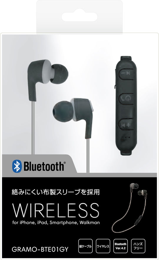 Bluetoothイヤホン GRAMO-BTE01 GY グレー