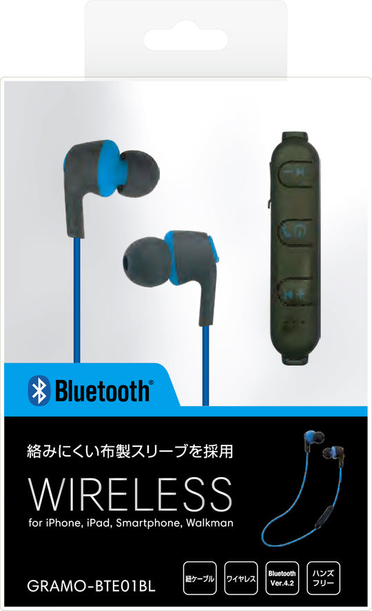 【GR】BTE01 BL /bluetoothイヤホン 青