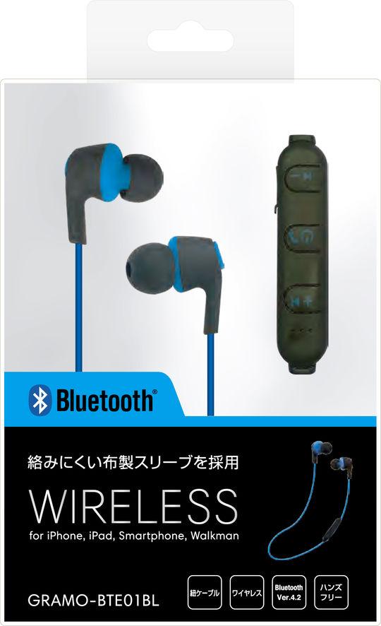 Bluetoothイヤホン GRAMO-BTE01 BL ブルー