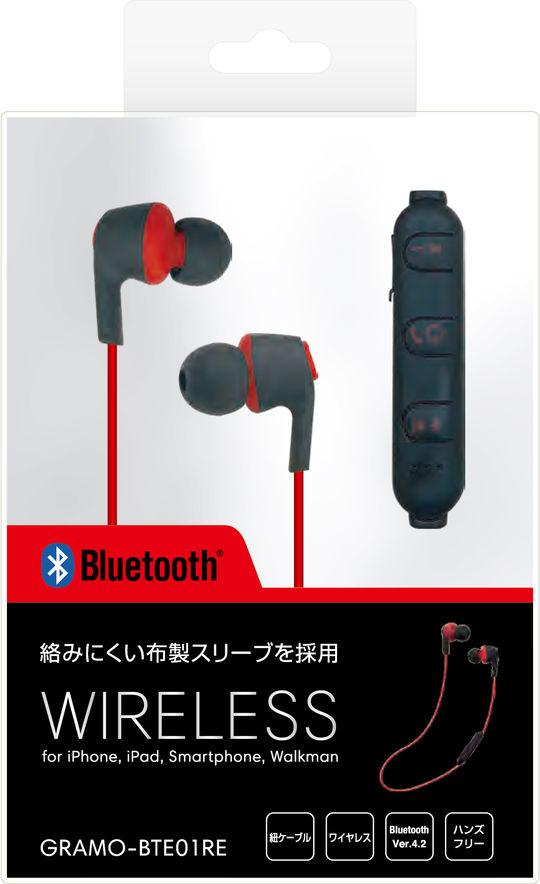 Bluetoothイヤホン GRAMO-BTE01 RE レッド