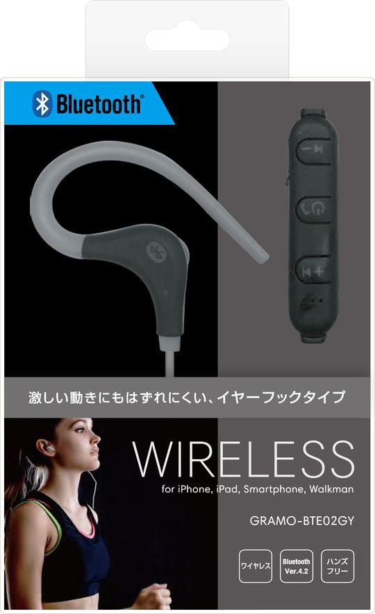 Bluetoothイヤホン GRAMO-BTE02 GY グレー