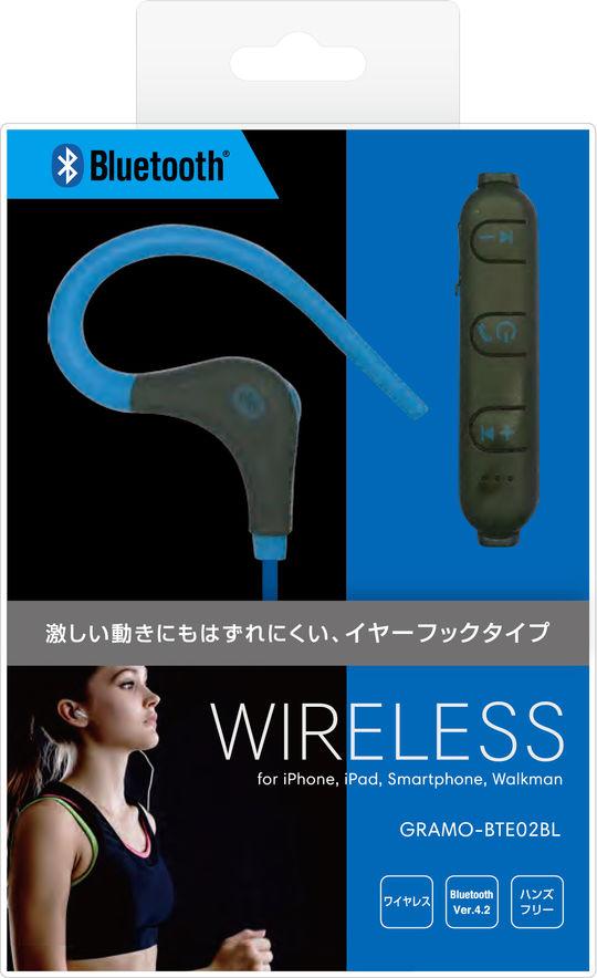 Bluetoothイヤホン GRAMO-BTE02 BL ブルー