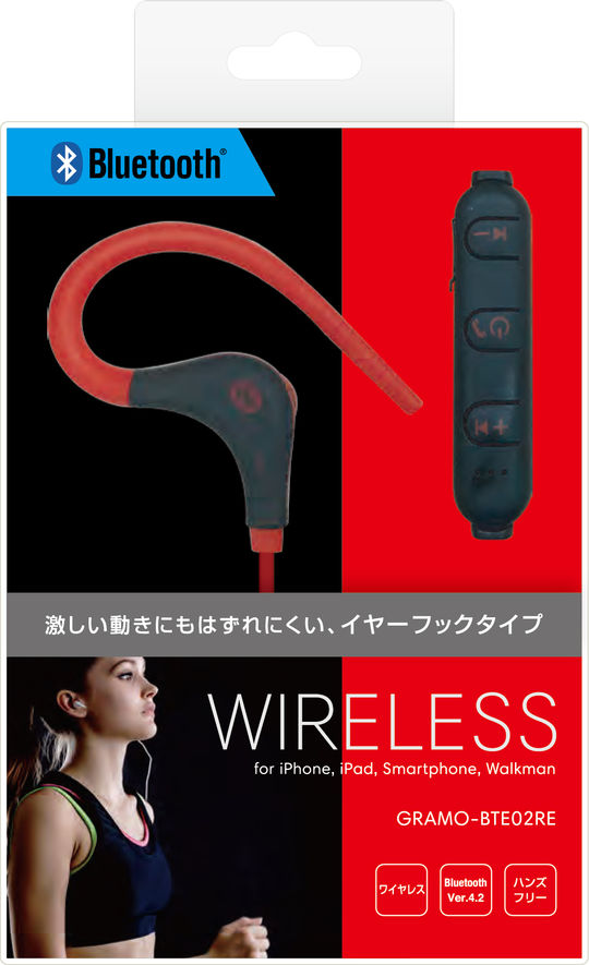 Bluetoothイヤホン GRAMO-BTE02 RE レッド