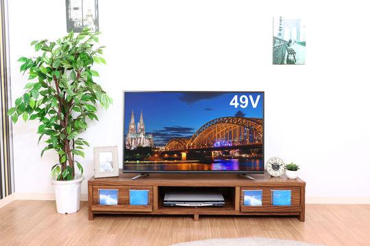 【新品】【テレビ+テレビボードセット】4K49v型液晶テレビ(GH−TV49D−BK)+テレビボード