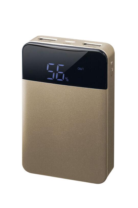 グリーンハウス 10000mAhモバイルバッテリー ゴールド