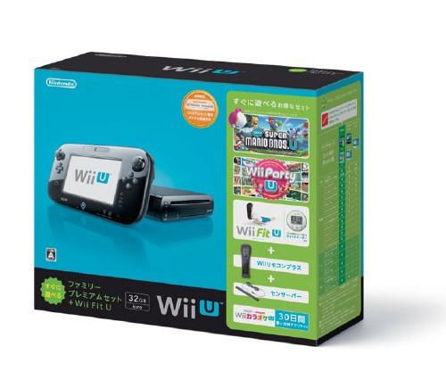 【中古・箱説なし・付属品なし・傷なし】Wii U すぐに遊べるファミリープレミアムセット+Wii Fit U (クロ) (限定同梱版)