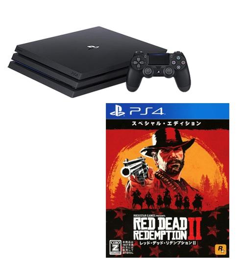 【新品】【18歳以上対象】PlayStation4 Pro CUH−7200BB01 ジェット・ブラック 1TB+レッド・デッド・リデンプション2:スペシャル・エディション【ゲオオンラインストア限定】