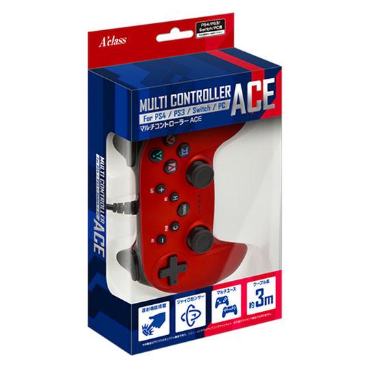 【新品】PS4/PS3/Switch/PC用マルチコントローラーACE メタルレッド