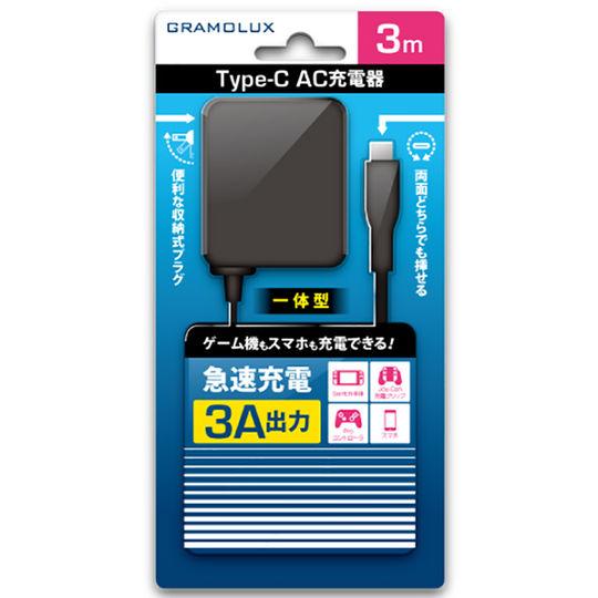 【新品】Type−Cケーブル一体型AC充電器 3A 3.0M GRFD−TCACC01−3A/3M B ブラック