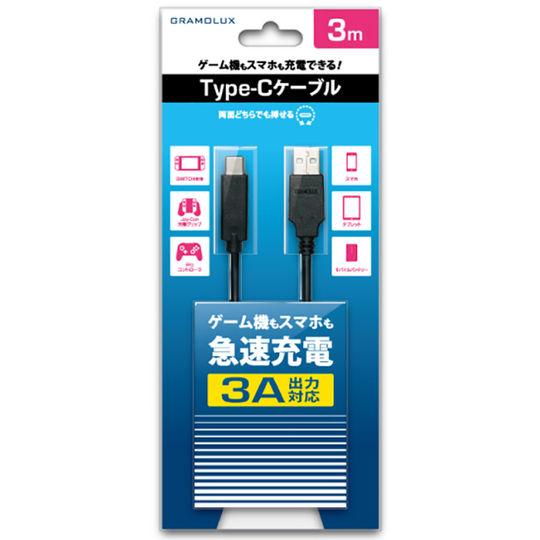 【新品】Type−Cケーブル GRFD−TCC02−3A/3M BK 3A 3.0M ブラック