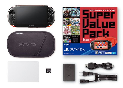 【中古】PlayStation Vita Super Value Pack Wi−Fiモデル PCHJ−10018 レッド/ブラック (限定版)
