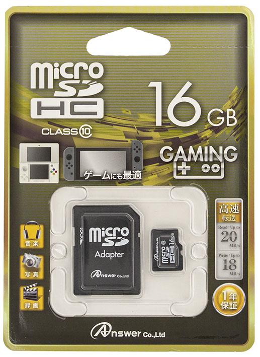 【新品】アンサー/microSD 16GB (SDHC class10 / SDカードアダプタ付) (ANS−MSD16G)