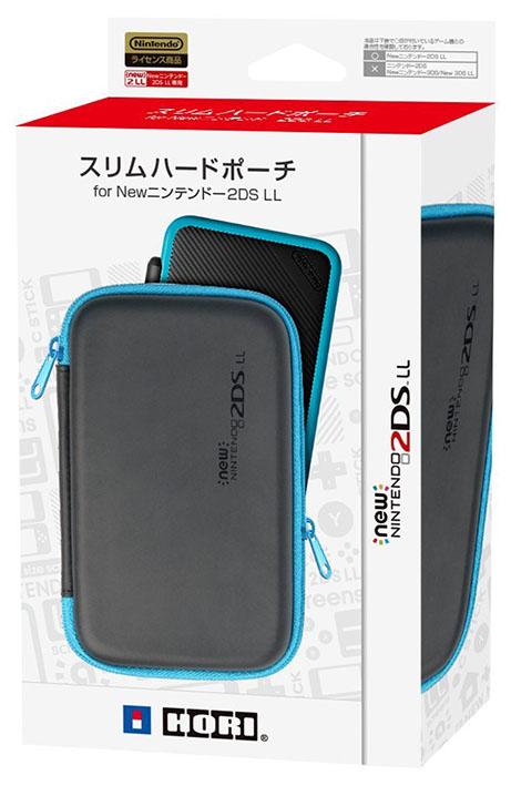 【新品】New 2DS LL用 スリムハードポーチ for Newニンテンドー2DS LL ブラック×ターコイズ