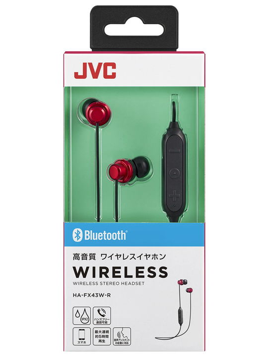 JVC Bluetoothイヤホン BK HA-FX43W R