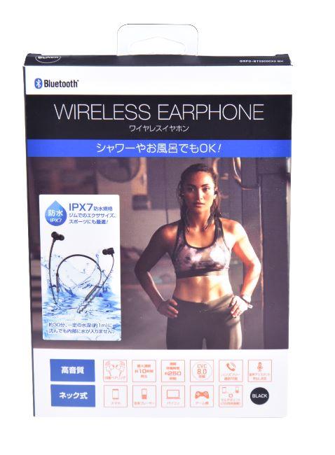 【GR】Bluetoothネック式イヤホン カナル型 IPX7 BK